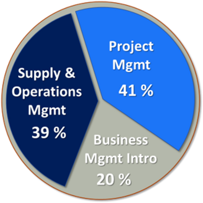 Supply Chain courses 39%, Project Management course 41%, Business Management 20%