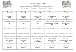 Menu Week Three November 2020 to March 2