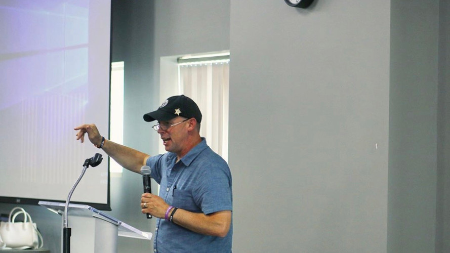 Randy demonstrating how to use Naloxone at our Addiction Event in 2019