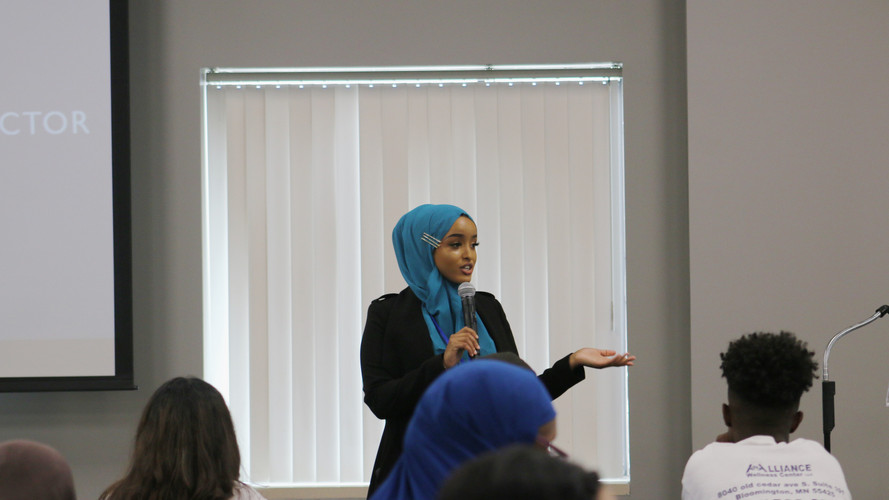 Najma Omar speaking to the audiance at Addiction 2019