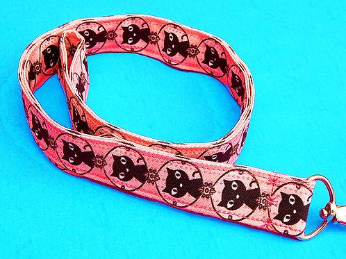 Pink Cats Lanyard and Badge Holder