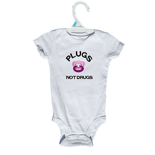 Plugs Not Drugs Onesie