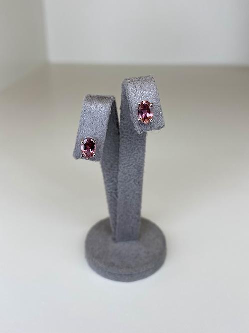Pink Tourmaline Stud Earrings 9ct White Gold