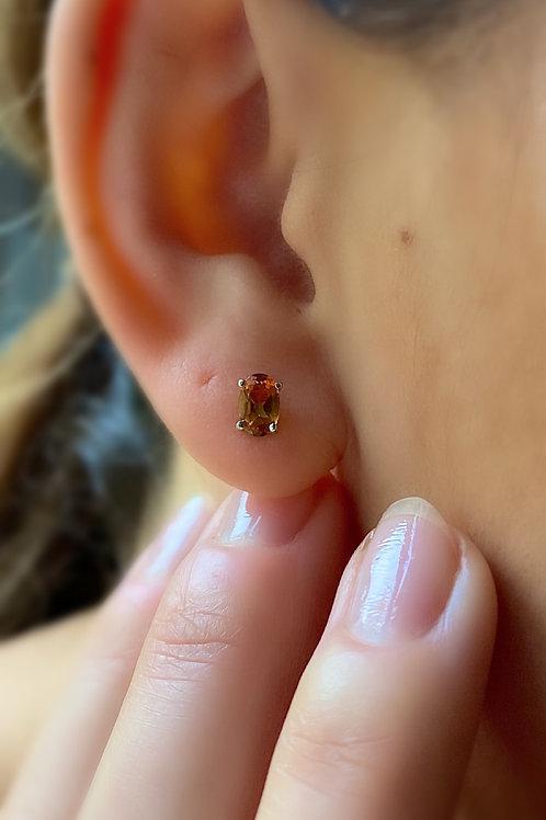 Citrine Stud Earrings 9ct White Gold