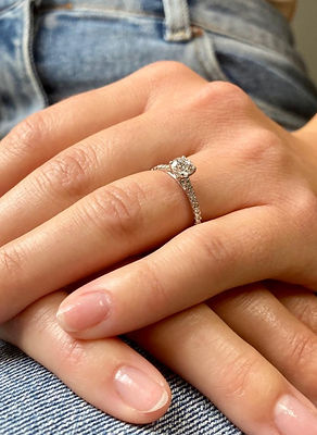 Micro Pave Set Engagement Ring