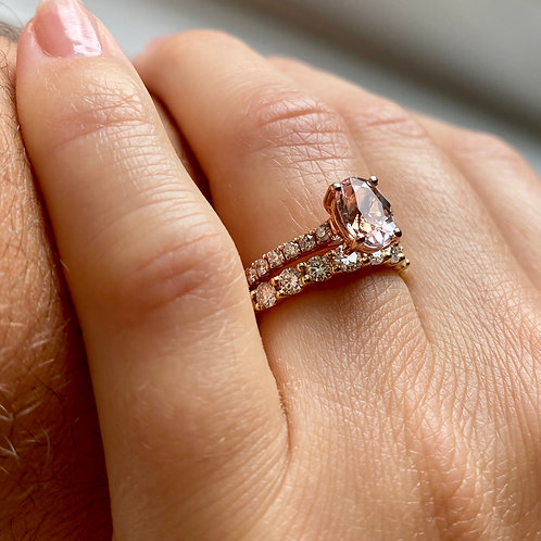 Morganite & Diamond 18ct Rose Gold Ring