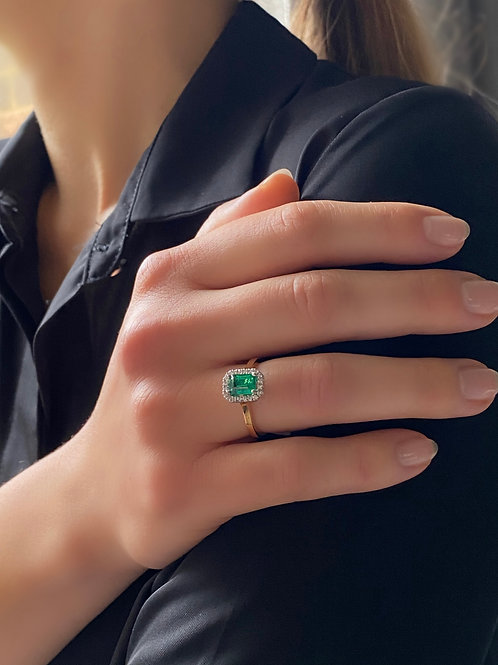 Emerald and Diamond Halo Ring In 18ct Yellow Gold