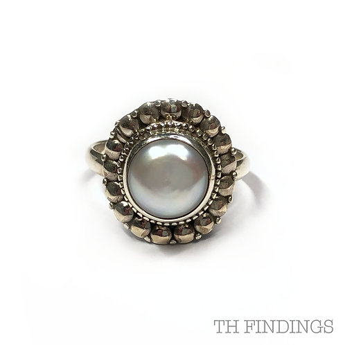 Pearl Semi Precious Sterling Silver Ring - Size M