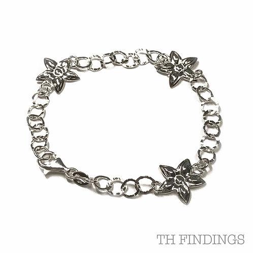 """Sterling Silver 925 7.5"""" Flower Link Bracelet"""