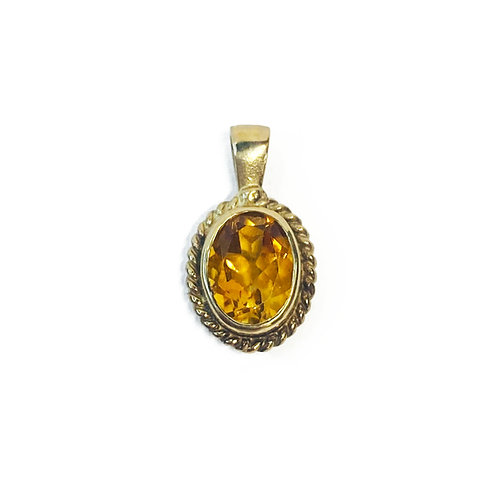 9ct Gold Citrine Pendant