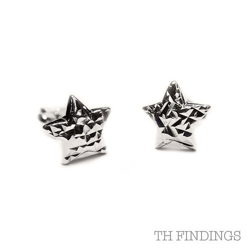 Sterling Silver 925 Diamond Cut Star Earstuds