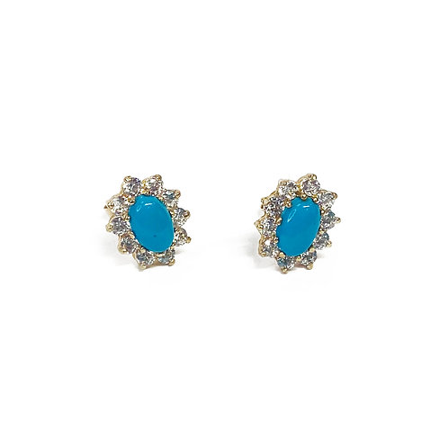 9ct GoldCZ & Turquoise Studs