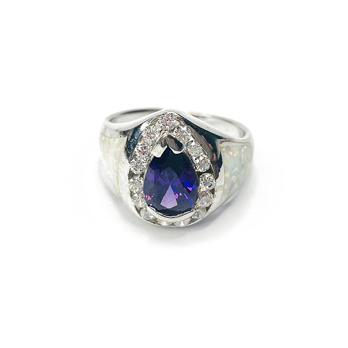 Synthetic Opal & CZ Ring