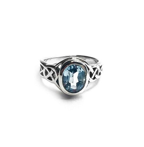 Sterling Silver 925 Aquamarine Cubic Zirconia Celtic Ring