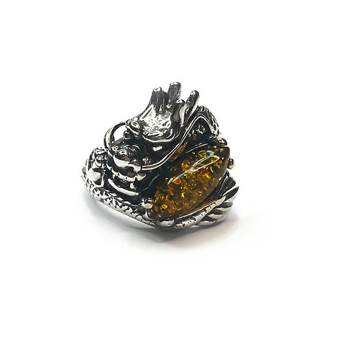 Sterling Silver 925 Amber Dragon Ring