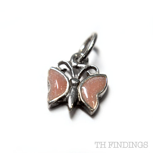 Sterling Silver 925 Small Butterfly Charm with Pink Wings