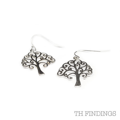 Sterling Silver 925 Soldered Tree Of Life Earrings