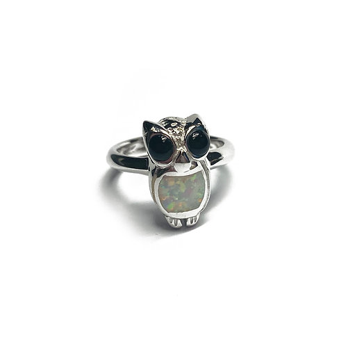 Sterling Silver 925 Iridescent Opal Owl Ring