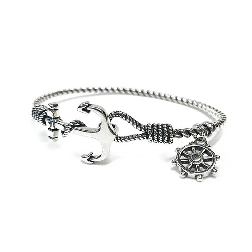 Sterling Silver 925 Nautical Rope Bangle