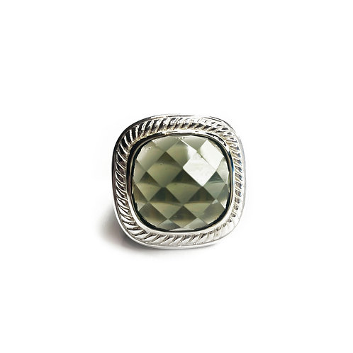 Sterling Silver 925 Faceted Cut Smokey Crystal Statement Ring