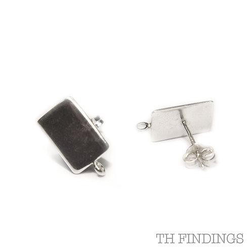 Sterling Silver Rectangular Pad Ear Stud & Scroll