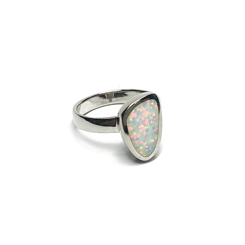 Sterling Silver 925 Iridescent Opal Ring