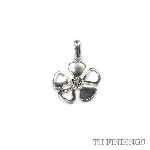 Sterling Silver 925 Cubic Zirconia Five Petal Flower Pendant