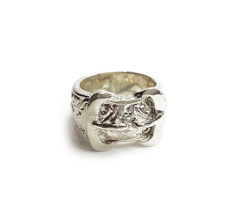 Sterling Silver 925 Heavyweight Equestrian Buckle Ring