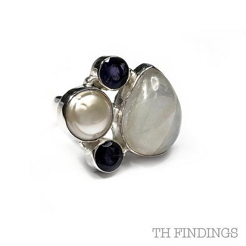 Moonstone, Amethyst & Pearl Semi Precious Sterling Silver Ring - Size P