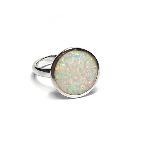 Sterling Silver 925 Iridescent Opal Round Disc Ring