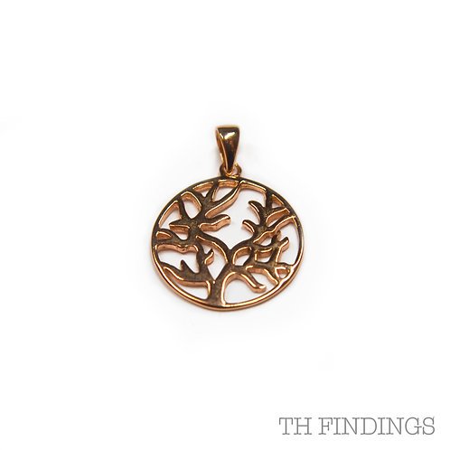 Sterling Silver 925 Rose Gold Plated Tree of Life Pendant