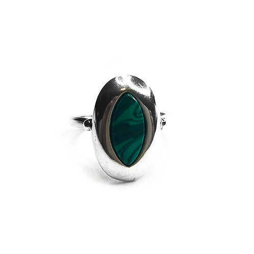 Sterling Silver 925 Malachite Statement Ring