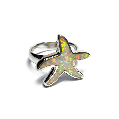 Sterling Silver 925 Iridescent Opal Star Ring