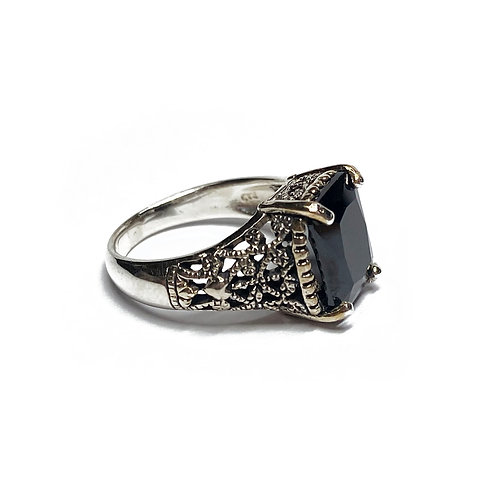 Sterling Silver 925 Black Cubic Zirconia Ornate Ring