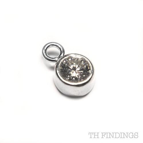 Sterling Silver 925 Clear Crystal CZ April Birthstone Dropper