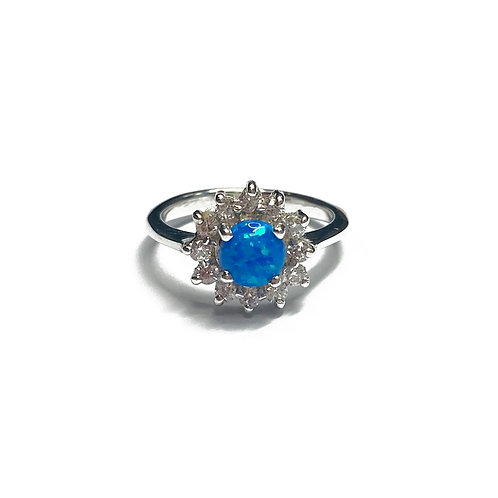 Sterling Silver 925 Synthetic Blue Opal CZ Halo Ring