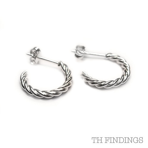 Sterling Silver 925 Twisted Hoop Earrings
