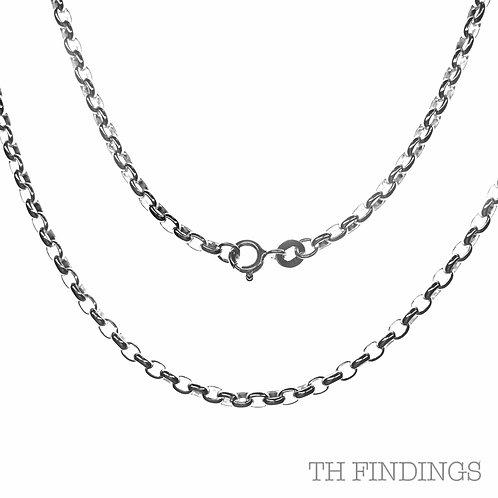 """Sterling Silver 925 18"""" Oval Belcher Chain"""