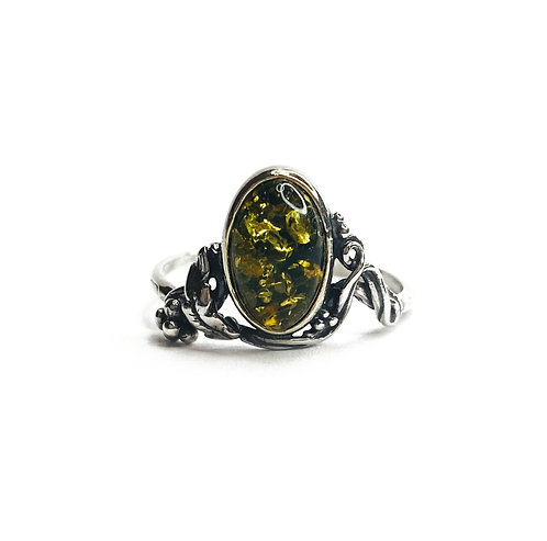 Sterling Silver 925 Antique Finish Green Amber Ring