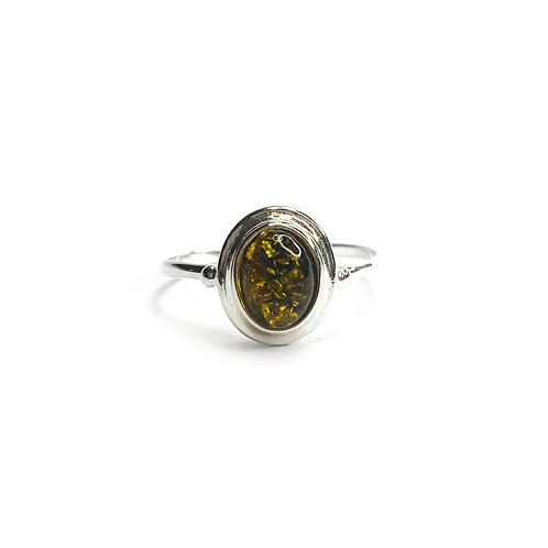 Sterling Silver 925 Green Amber Stone Ring