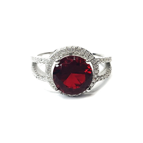 Sterling Silver Garnet Red Cubic Zirconia Ring