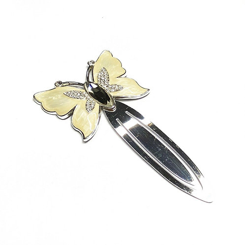Ivory Coloured Enamel Butterfly Bookmark Gift