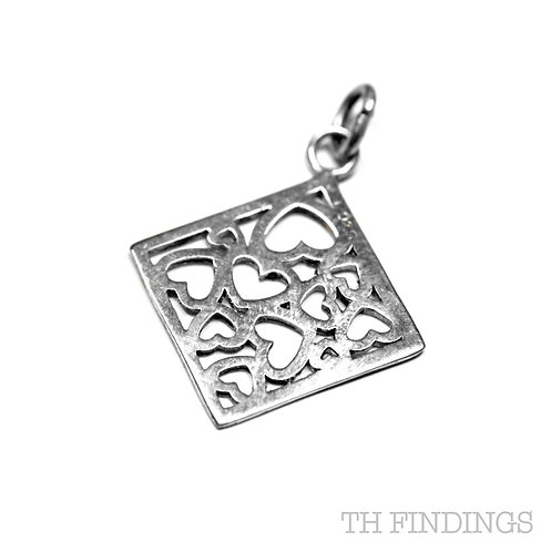 Sterling Silver 925 Box of Hearts Charm