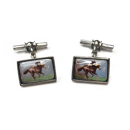 Sterling Silver 925 Horse Riding Cufflinks