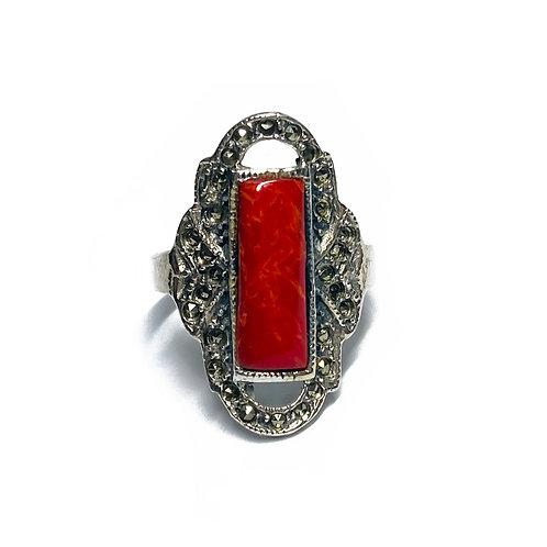 Sterling Silver 925 Red Jasper Cubic Zirconia Ring