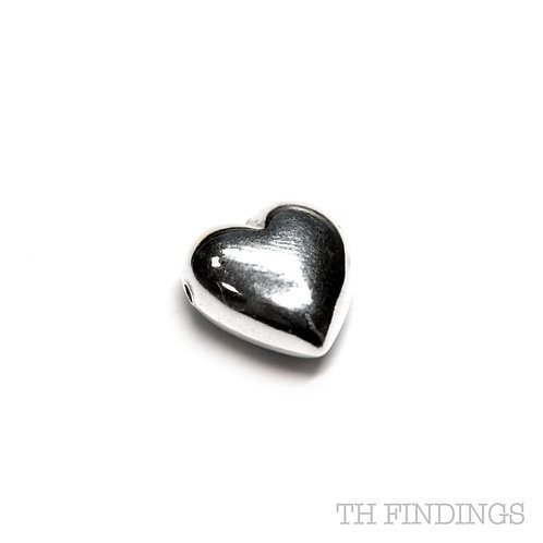 Sterling Silver 925 Heart Shaped Through Hole Bead