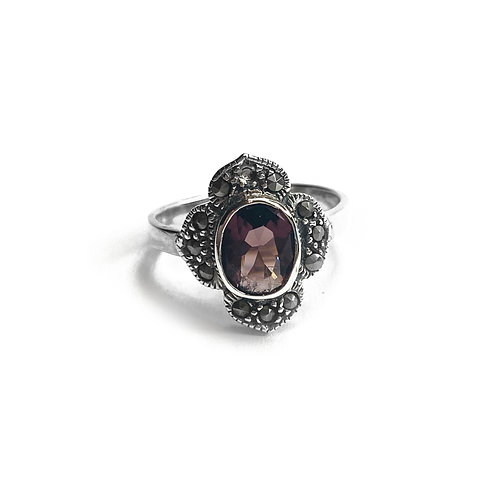 Sterling Silver 925 Ornate Purple Cubic Zirconia Ring