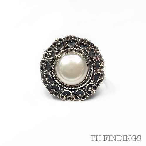 Ornate Pearl Semi Precious Sterling Silver Ring