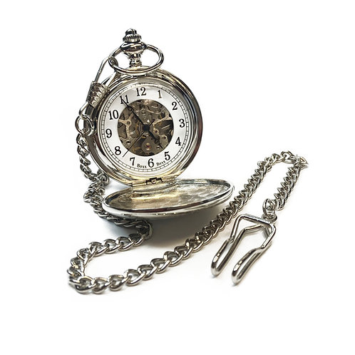 Silver Plated Pocket Watch & Chain