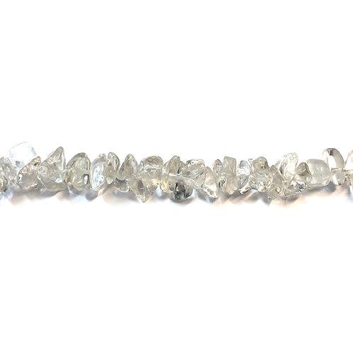 Clear Quartz Crystal Nugget Semi Precious Bead Strand